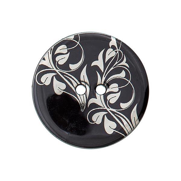 Bouton polyester 2 trous fleurs – noir/argent