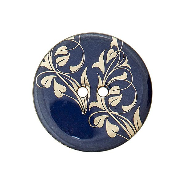 Bouton polyester 2 trous fleurs – bleu marine/or