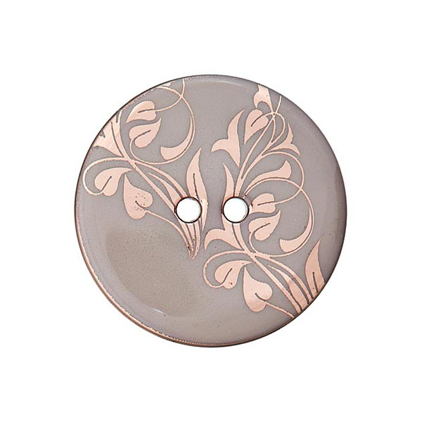 Bouton polyester 2 trous fleurs – gris/or rose