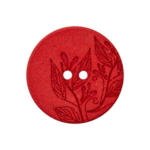 Bouton polyester/chanvre 2 trous Recyclé – rouge vif