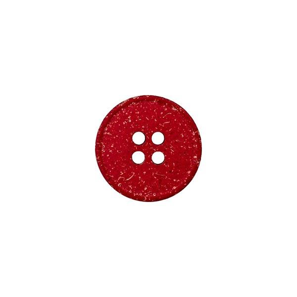 Hanf/Polyesterknopf Recycling 4-Loch – signalrot