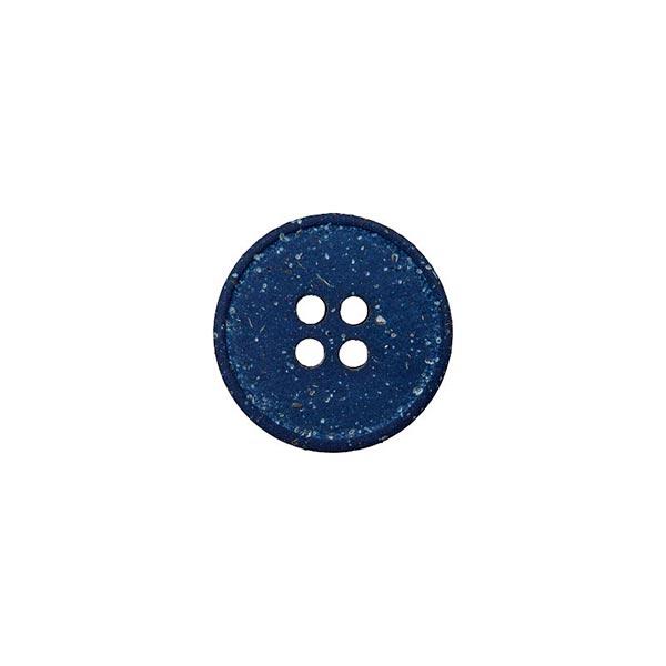 Bouton polyester/chanvre 4 trous Recyclé – bleu roi