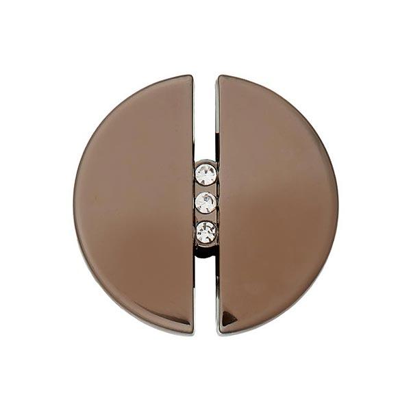 Bouton à queue strass et métal [ 20 mm ] – marron foncé