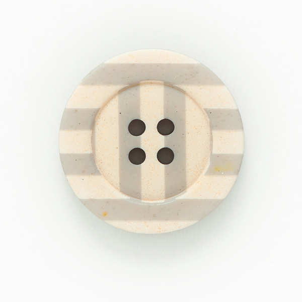 Bouton rayures 4 trous  – bleu clair/abricot