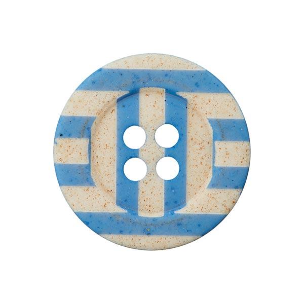 Bouton rayures 4 trous  – bleu/abricot