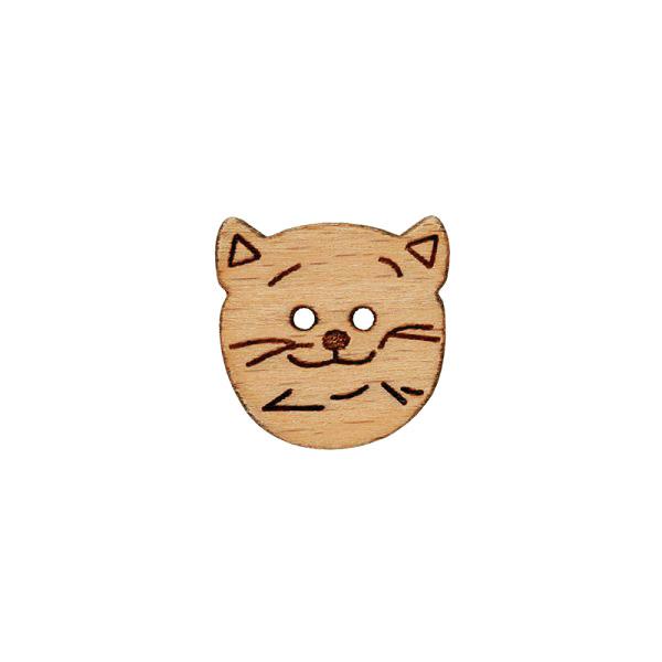 Bouton en bois, smiling catface