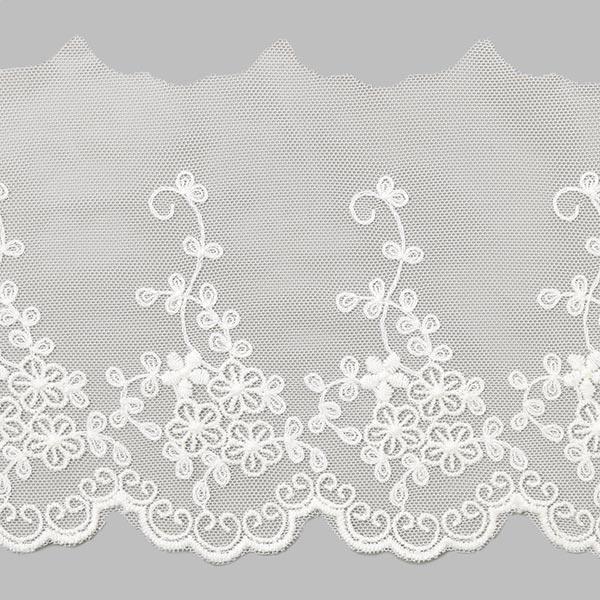 Dentelle de tulle Fleur (55mm) – blanc