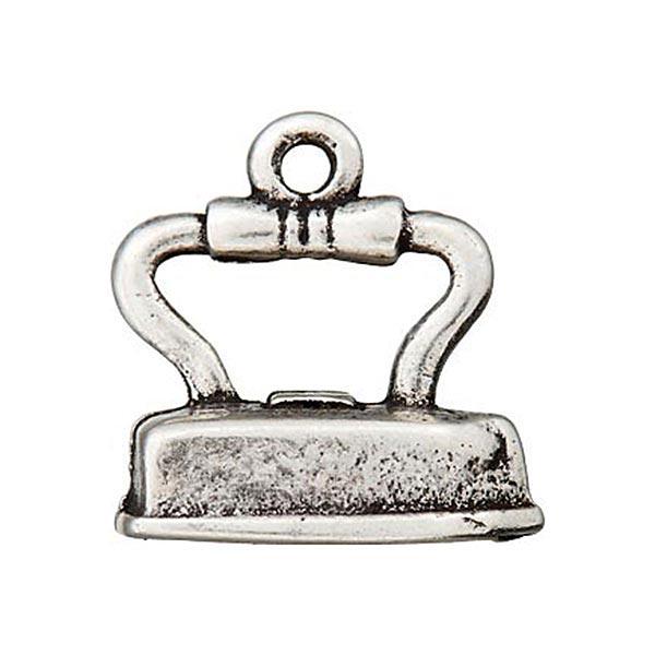 Metallzierteil Anhänger Bügeleisen – silber