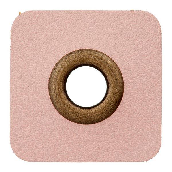 Lederimitat Ösenpatch [ 8 mm ] – rosa/gold