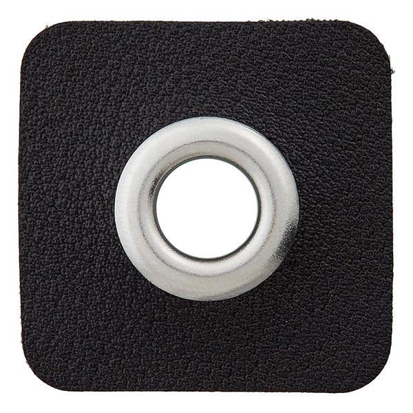 Lederimitat Ösenpatch [ 8 mm ] – schwarz/silber