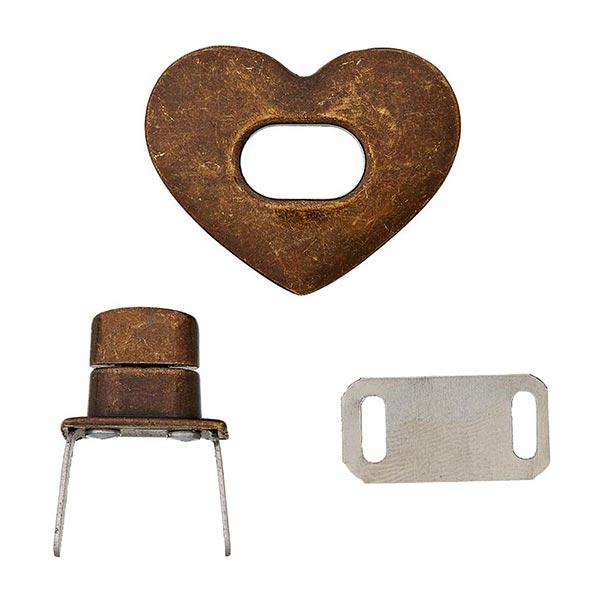 Taschenverschluss Herz  – bronze