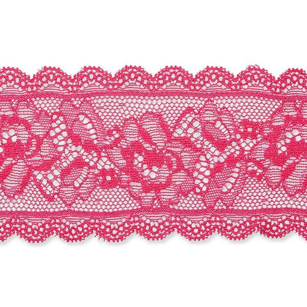 Dentelle élastique Rinceau de fleurs [58 mm] – rose vif