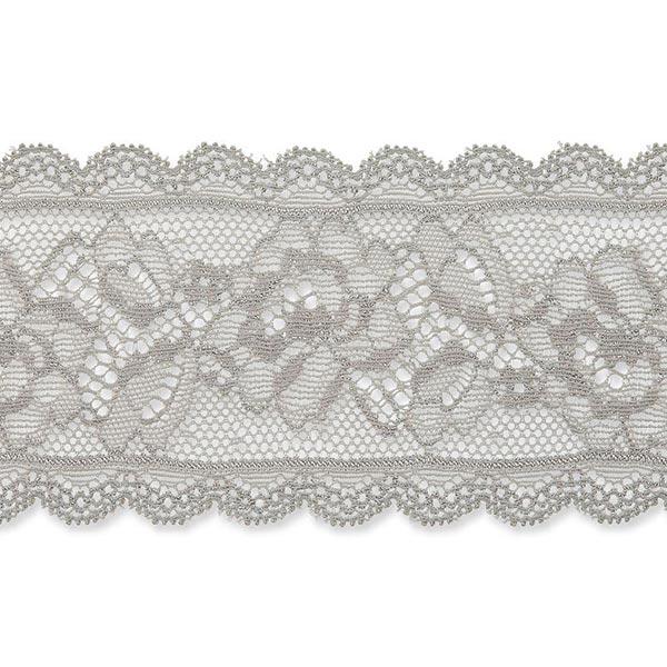 Dentelle élastique Rinceau de fleurs [58 mm] – gris clair
