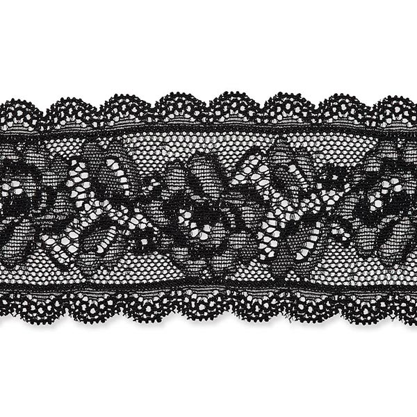 Dentelle élastique Rinceau de fleurs [58 mm] – noir