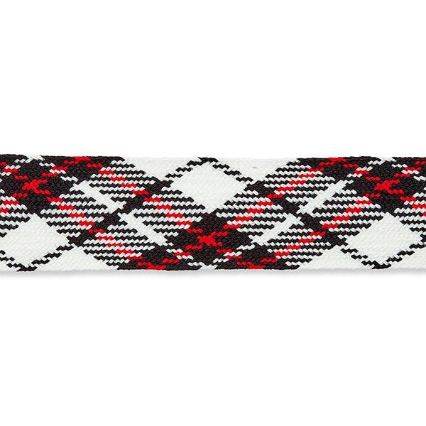 Tresse carreaux écossais [ 30 mm ] – blanc/noir