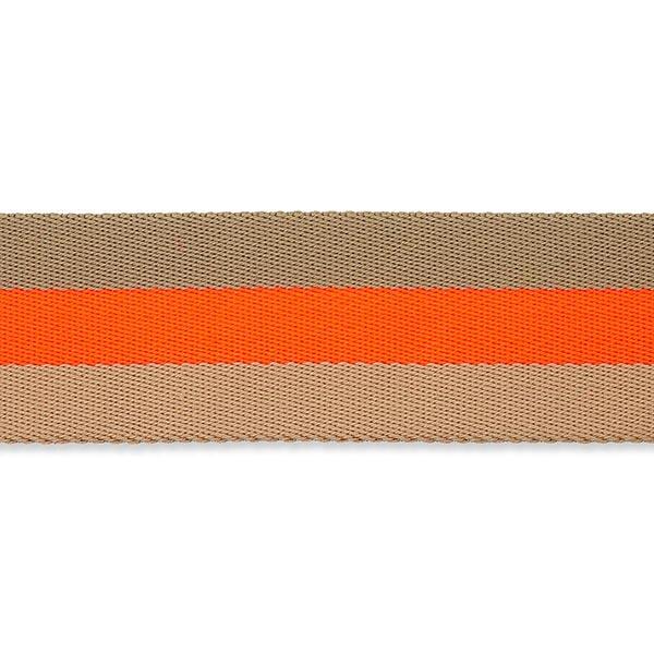 Sangle de sac fluo [ 40 mm ] – orange néon/beige