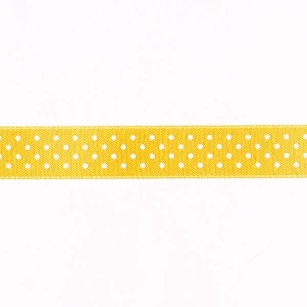 Bande de satin Points - jaune soleil / blanc