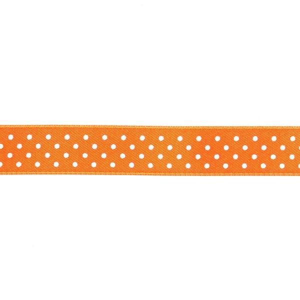 Bande de satin Points - orange fluo / blanc