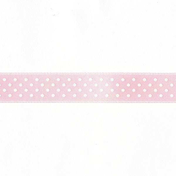 Bande de satin Points - rose / blanc