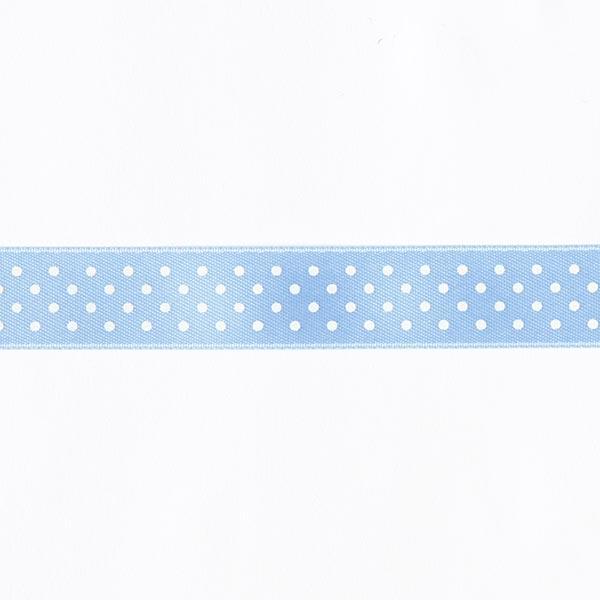 Bande de satin Points - bleu bébé / blanc