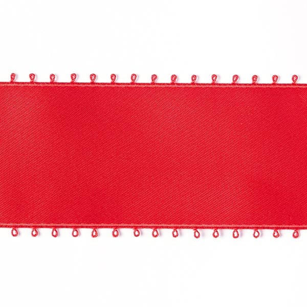 Bande de satin Bordure picot - rouge