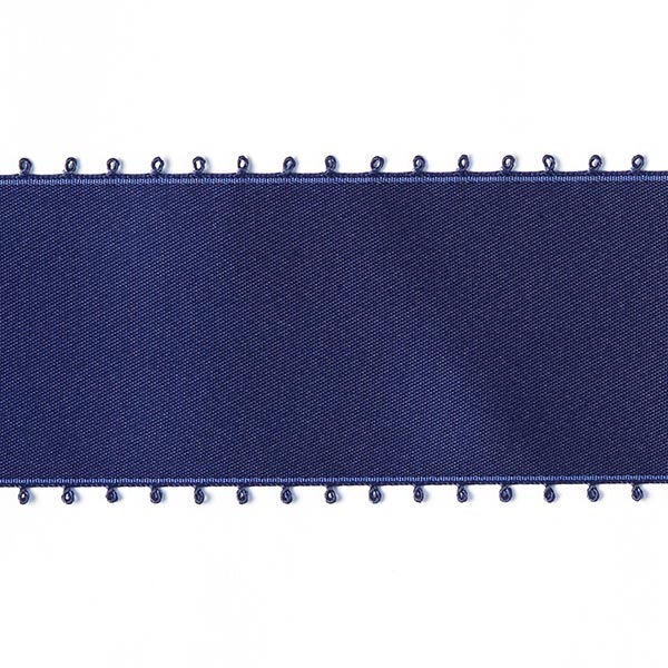 Bande de satin Bordure picot - navy
