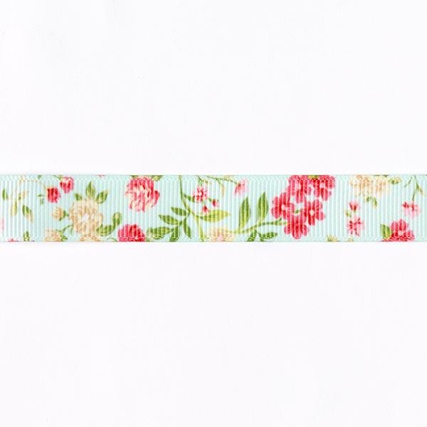 Ruban de reps Imprimé floral [15 mm] - vert menthe