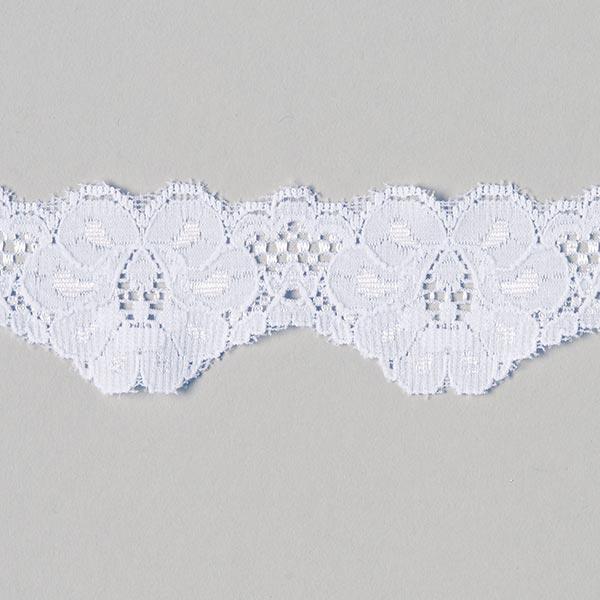 Dentelle Rachel élastique [40 mm] - blanc