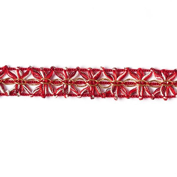 Galon crocheté Lurex [18 mm] - rouge