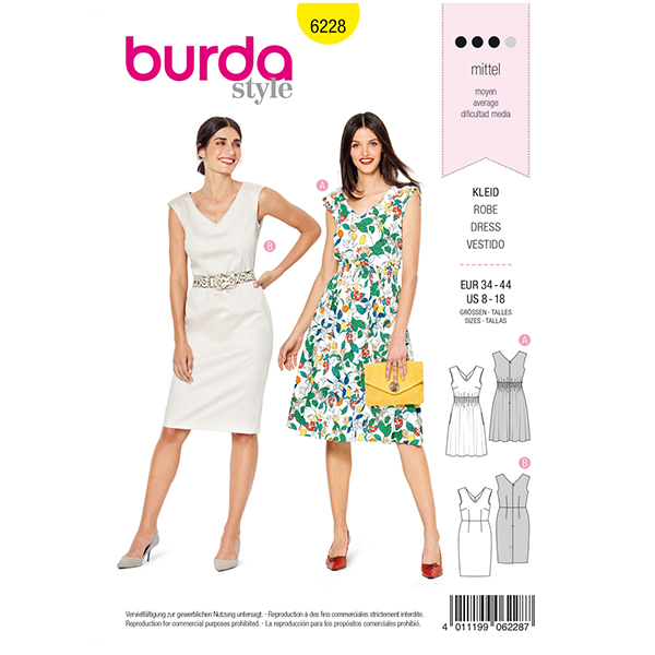 Robe fourreau, Burda 6228 | 34 - 44