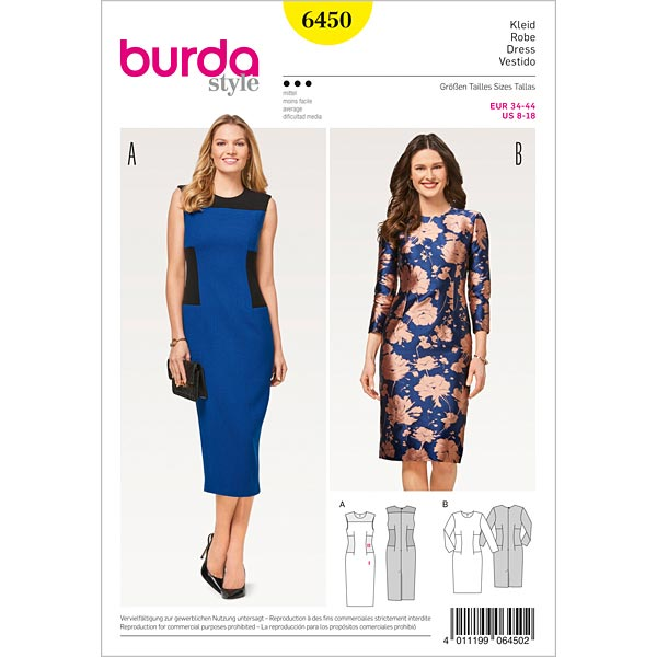 Robe à incrustations | robe fourreau, Burda 6450 | 34 - 44