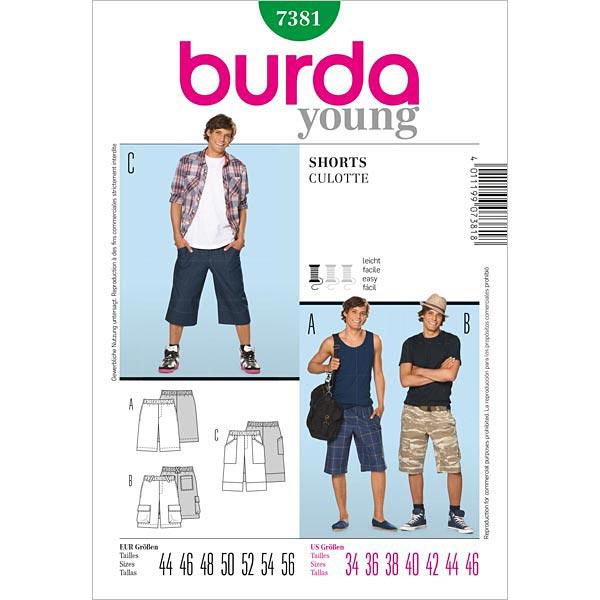 Short / short décontracté, Burda 7381