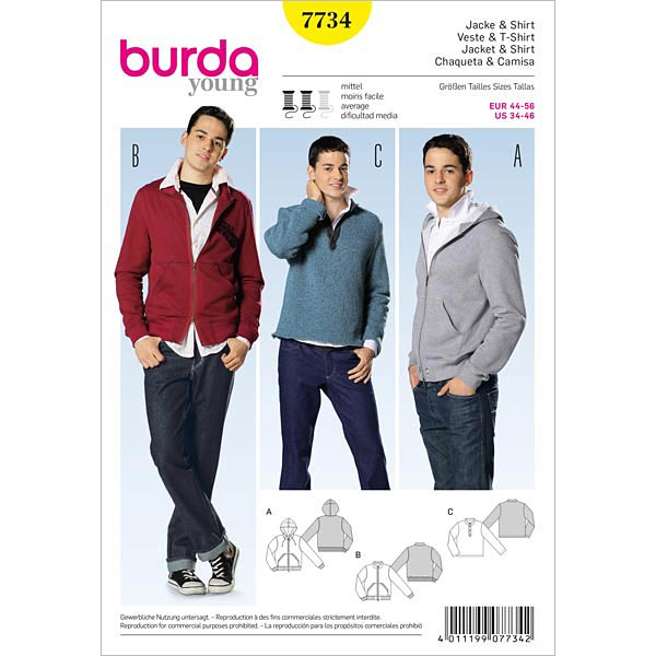 Veste / t-shirt, Burda 7734