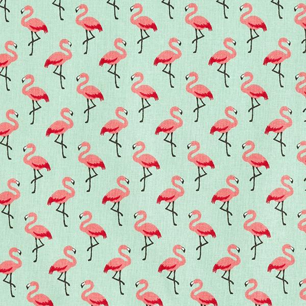 Tissu en coton Cretonne Flamant rose – vert menthe