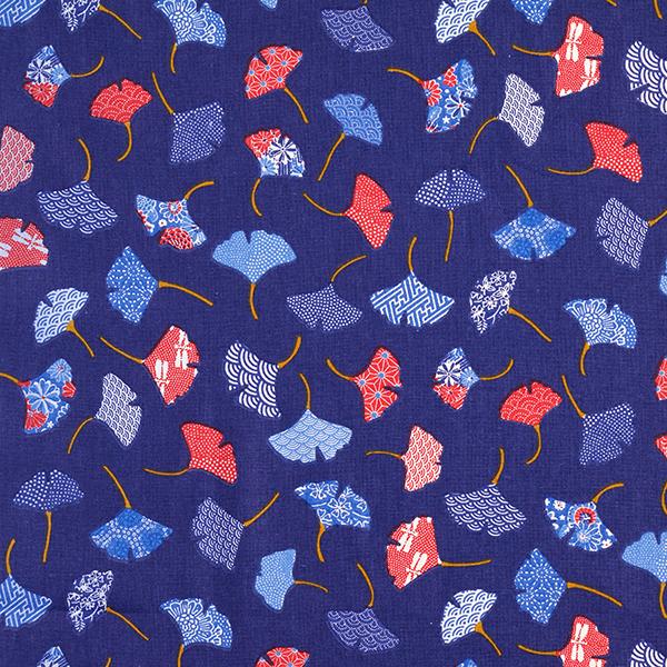 Tissu en coton Cretonne Feuilles ginko – bleu