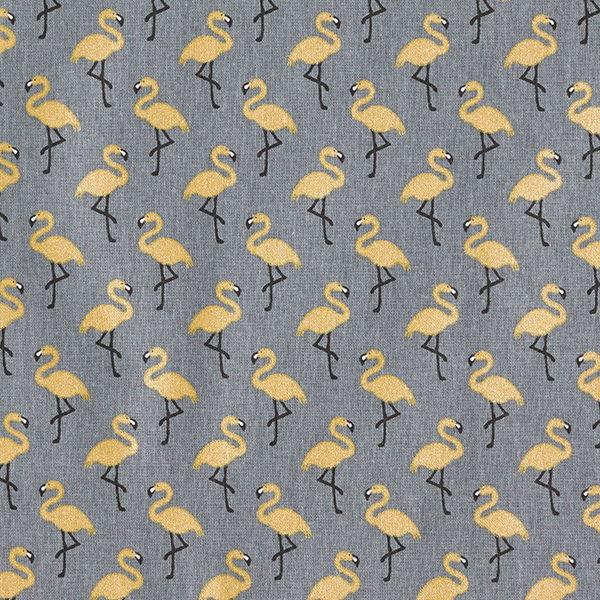 Baumwollstoff Cretonne glänzender Flamingo – grau