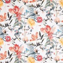 Tissu de rideaux et de décoration Fleurs romantiques – écru/rouge