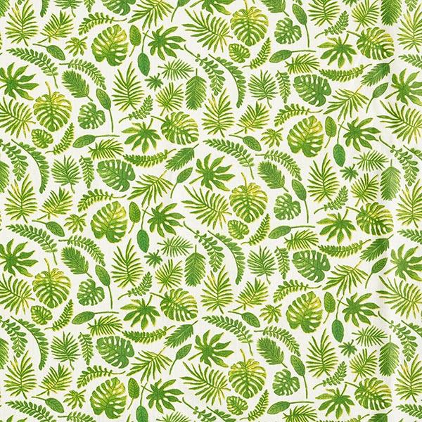 Beschichtete Baumwolle Blätter – wollweiss/grün