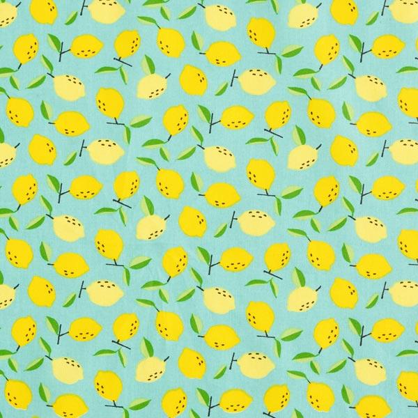 Beschichtete Baumwolle Zitronen – aquablau