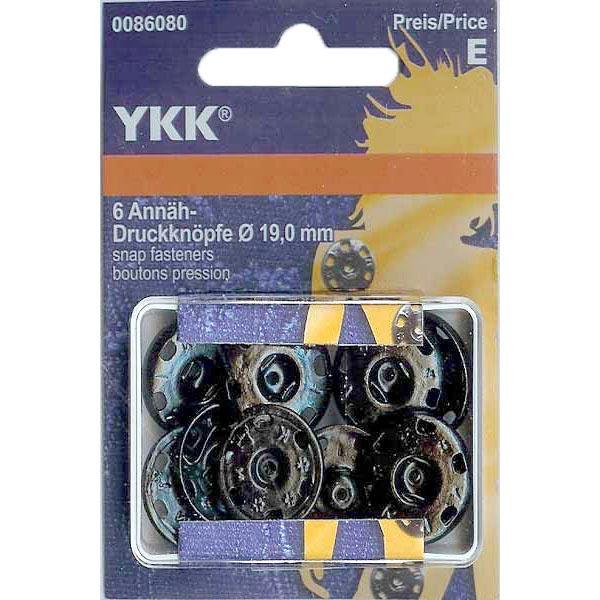 Bouton-pression à coudre métal 1 – noir | YKK