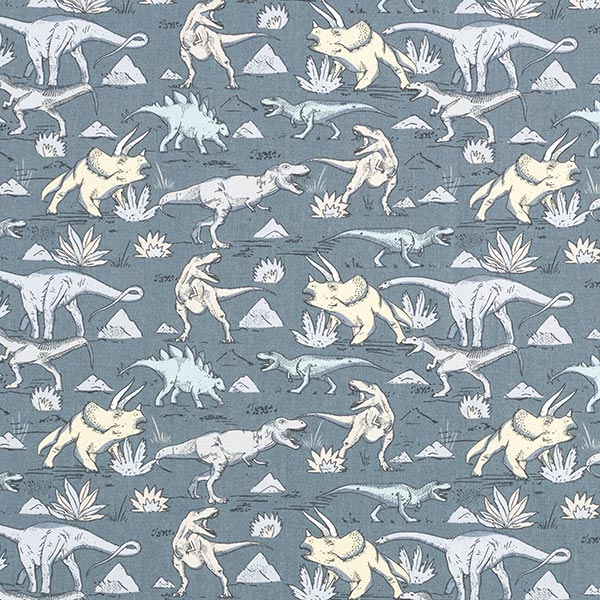 Cretonne Dinosaurier – blaugrau
