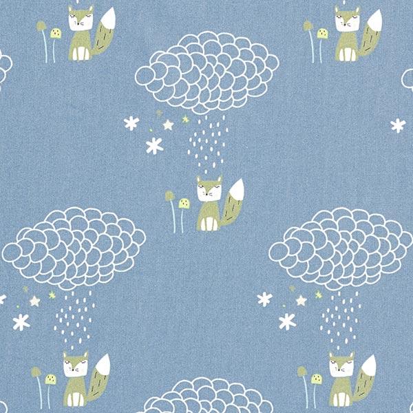 Baumwollstoff Cretonne Fuchs im Regen GOTS – blaugrau