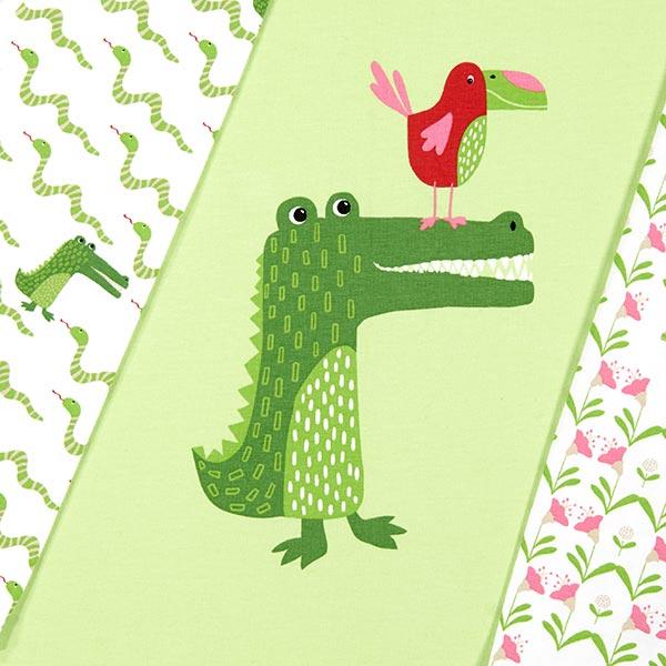 Coupon de jersey coton jungle Party – vert clair
