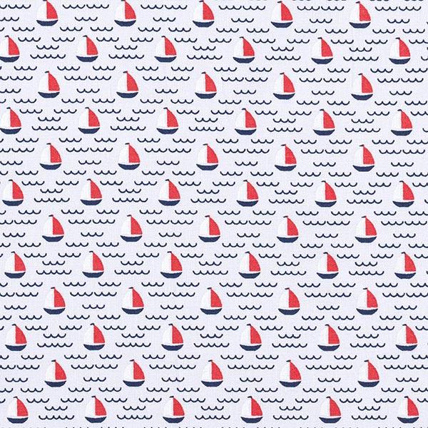 Tissu en coton Cretonne Petits navires GOTS – gris clair
