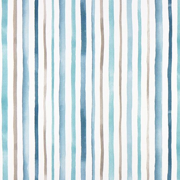 Dekostoff Halbpanama Wasserfarben Streifen – weiss/blau