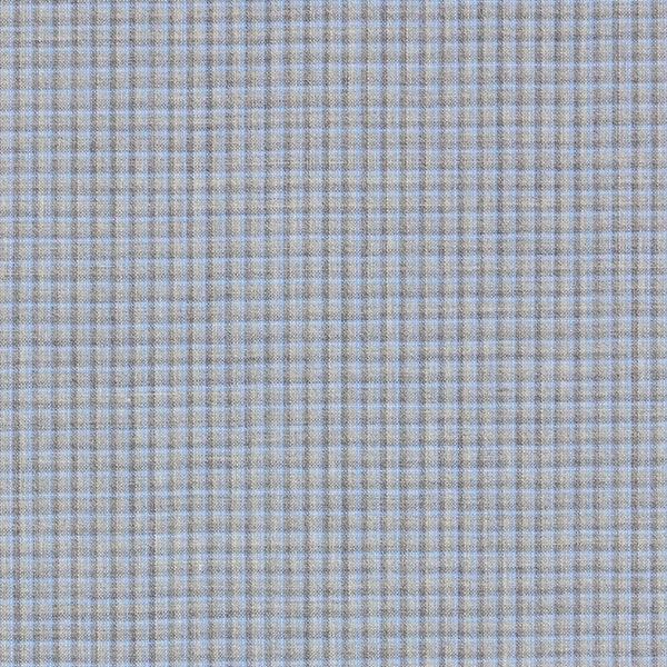 Tissu pour costume 100% laine mérinos motif carreaux – gris/bleu clair