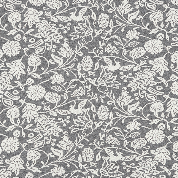 Tricot Jacquard recyclé rinceaux de fleurs – gris/blanc