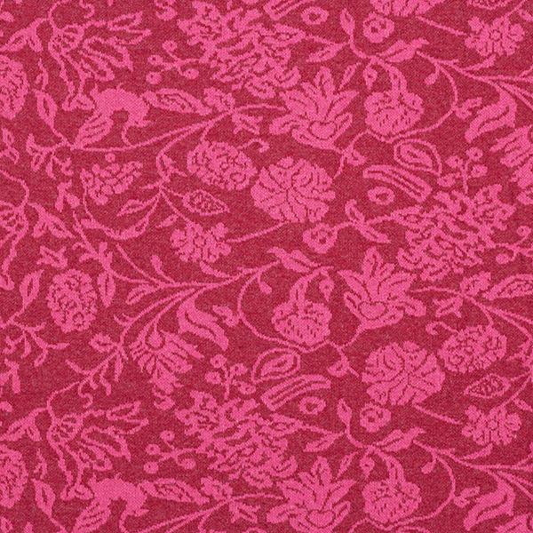 Jersey jacquard en mélange coton recyclé Fleurs – rose vif