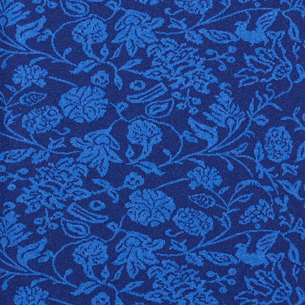 Jersey jacquard en mélange coton recyclé Fleurs – bleu