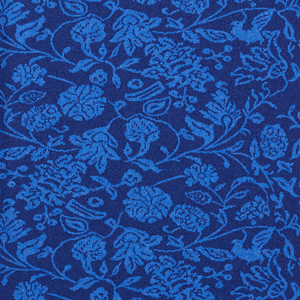 Jacquardjersey aus recyceltem Baumwollmix Blumen – blau